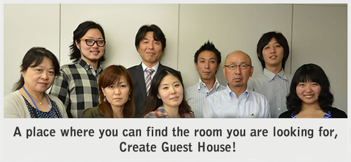 Welcome to Create Guest House! We'll help you find ideal room for you!